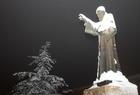 Statue St Charbel Under snow sous neige Mar Annaya